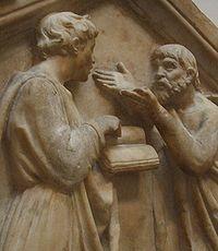 Platon et Aristote discutant. Détail d'un bas-relief de della Robbia (xve siècle, Florence, Italie).