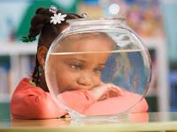 Schoolgirl (4-5) looking at goldfish, close-up