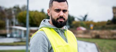 "Torcy, France on November 10, 2018: Yellow vests gathering on Carrefour's car park in Torcy. In the presence of Eric Drouet, 33 years old, truck driver, from Seine et Marne. ""It's a meeting to inform people, there are bigger meetings all over France. It's going to be the first time ever, the 17th will be a day like no other."" Torcy, France le 10 Novembre 2018: Rassemblement de gilets jaunes sur le parking du Carrefour de Torcy. En presence de Eric Drouet, 33 ans, chauffeur routier, de Seine et Marne. ""C'est une rŽunion pour informer les gens, il y a des plus grosses rŽunions un peu partout en France. Ca va tre du jamais vu, le 17 sera une journŽe pas comme les autres."""
